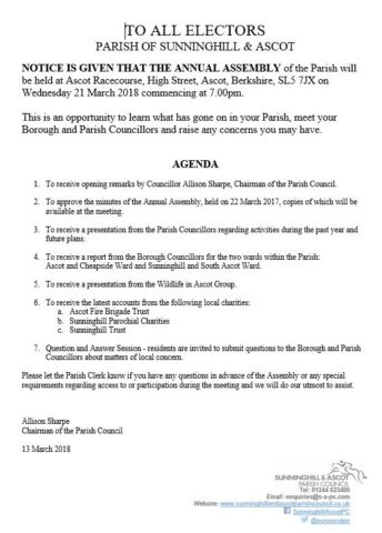 Parish Annual Assembly Notice and Agenda, 21 March