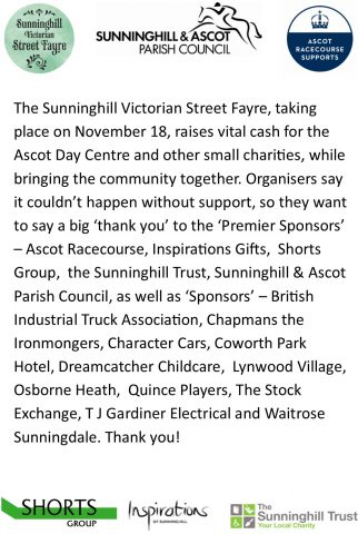 Thank you to the Sunninghill Victorian Street Fayre supporters