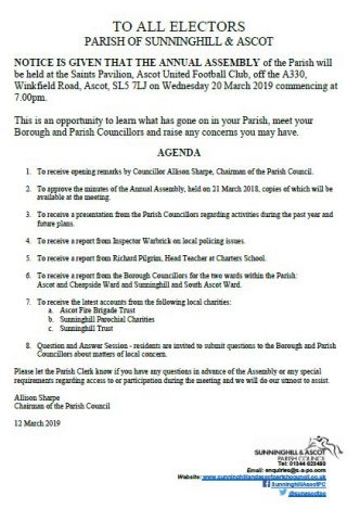 Parish Annual Assembly Notice and Agenda, 20 March 2019