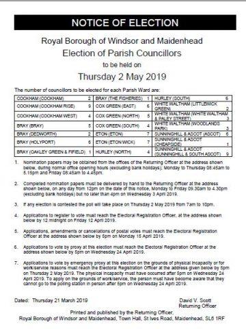 Parish Councillors Election, 2 May - Election Notice