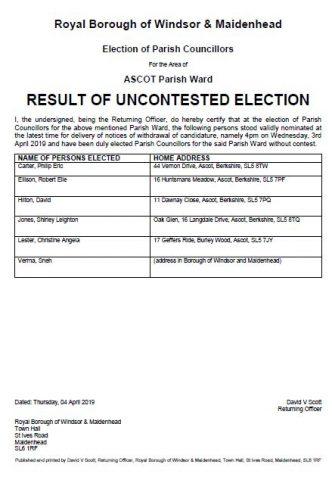 Parish Councillor Elections - Ascot Parish Ward is Uncontested