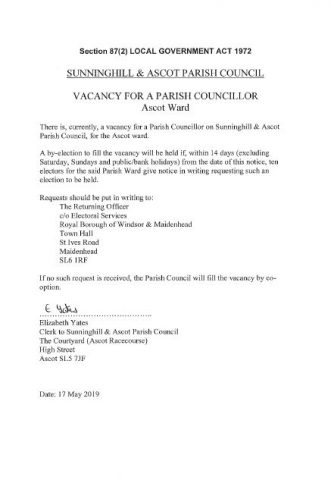 Parish Councillor Vacancy, Ascot Ward