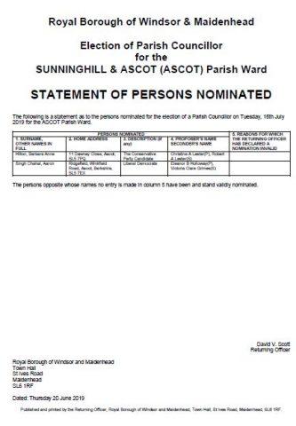 Parish Councillor Election, Ascot Ward, 16 July