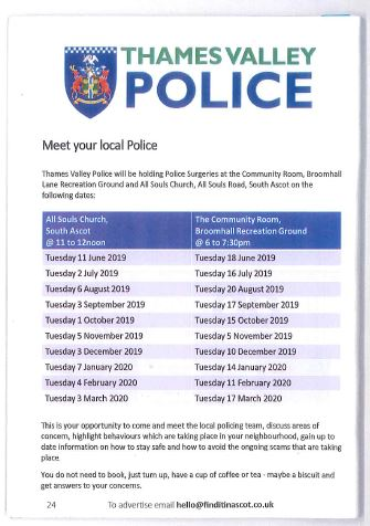 Thames Valley Police Surgeries in South Ascot and Sunningdale