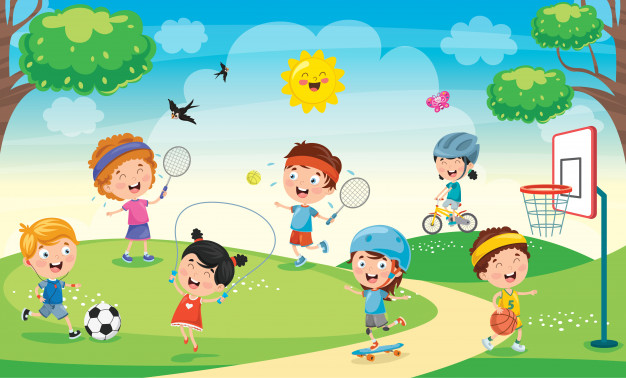 children playing in a park cartoon image