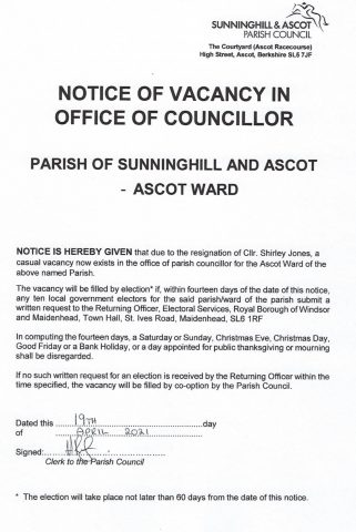 Official Notice of Casual Vacancy